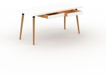 Schreibtisch Massivholz Weiß - Moderner Massivholz-Schreibtisch: mit 2 Schublade/n - Hochwertige Materialien - 160 x 75 x 70 cm, konfigurierbar