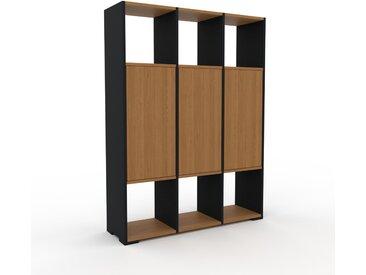 Schrankwand Eiche - Moderne Wohnwand: Türen in Eiche - Hochwertige Materialien - 118 x 158 x 35 cm, Konfigurator
