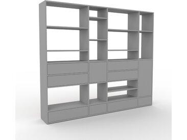 Wohnwand Grau - Individuelle Designer-Regalwand: Schubladen in Grau & Türen in Grau - Hochwertige Materialien - 229 x 195 x 35 cm, Konfigurator