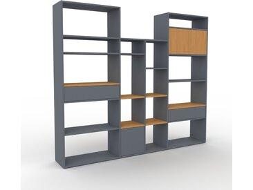 Regalsystem Anthrazit - Regalsystem: Schubladen in Anthrazit & Türen in Eiche - Hochwertige Materialien - 229 x 195 x 35 cm, konfigurierbar
