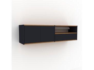 Hängeschrank Anthrazit - Wandschrank: Schubladen in Anthrazit & Türen in Anthrazit - 152 x 41 x 35 cm, konfigurierbar