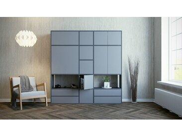 Schrankwand Grau - Moderne Wohnwand: Schubladen in Grau & Türen in Grau - Hochwertige Materialien - 190 x 195 x 35 cm, Konfigurator