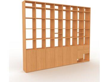 Aktenregal Buche - Büroregal: Schubladen in Buche & Türen in Buche - Hochwertige Materialien - 310 x 253 x 35 cm, konfigurierbar