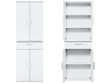 Mehrzweckschrank 'Der Praktische' Höhe 180cm, Schubladenschrank, kleiner Schrank & Midischrank, Made in Germany, Weiß