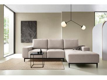 Ecksofa 'Die Leichtfüßige' modernes 3-Sitzer Sofa & Schlafsofa, Weboptik in Cremeweiß -8