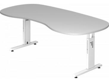 Schreibtisch höhenverstellbar Grau Nierenform: 200 x 100 cm Weiß