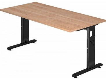 Schreibtisch höhenverstellbar Nussbaum Rechteck: 160 x 80 cm Schwarz