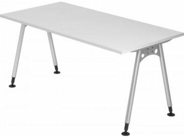 Schreibtisch höhenverstellbar Weiß Rechteck: 160 x 80 cm