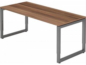 Schreibtisch höhenverstellbar Zwetschge Rechteck: 180 x 80 cm Graphit