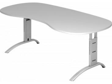Schreibtisch höhenverstellbar Grau Nierenform: 200 x 100 cm Silber
