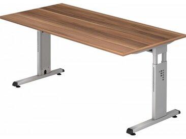 Schreibtisch höhenverstellbar Zwetschge Rechteck: 160 x 80 cm Silber
