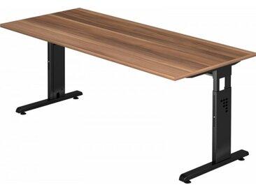 Schreibtisch höhenverstellbar Zwetschge Rechteck: 180 x 80 cm Schwarz