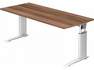 Schreibtisch höhenverstellbar Zwetschge Rechteck: 180 x 80 cm Weiß