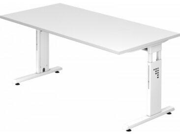 Schreibtisch höhenverstellbar Weiß Rechteck: 160 x 80 cm Weiß