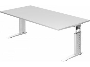 Schreibtisch höhenverstellbar Weiß Rechteck: 200 x 100 cm Weiß
