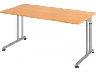 Schreibtisch höhenverstellbar Buche Rechteck: 160 x 80 cm Silber