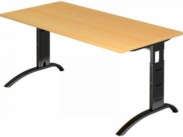 Schreibtisch höhenverstellbar Buche Rechteck: 160 x 80 cm Schwarz