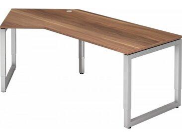 Schreibtisch höhenverstellbar Zwetschge Winkelform: 210 x 113 cm Silber