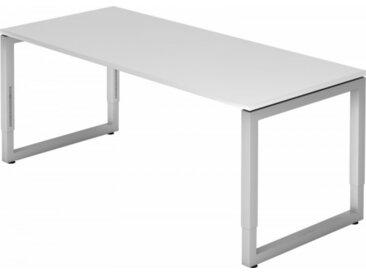 Schreibtisch höhenverstellbar Weiß Rechteck: 180 x 80 cm Silber