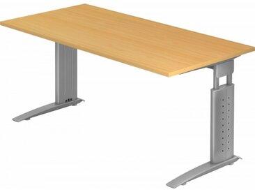 Schreibtisch höhenverstellbar Buche Rechteck: 160 x 80 cm Silbergrau
