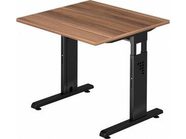 Schreibtisch höhenverstellbar Zwetschge Quadrat: 80 x 80 cm Schwarz
