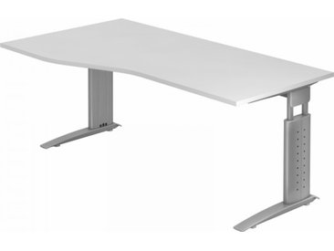Schreibtisch höhenverstellbar Weiß Freiform: 180 x 100 cm Silbergrau