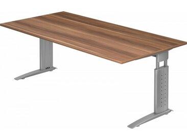 Schreibtisch höhenverstellbar Zwetschge Rechteck: 200 x 100 cm Silbergrau