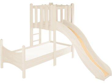 Komplett-Set: Noah Kinderbett mit Spielturm und Rutsche Kiefer weiß lasiert