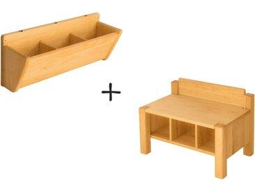 Spar-Set: Robin Kindergartenbank mit Hänge-Garderobe 60 cm
