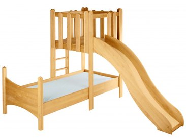 Komplett-Set: Noah Kinderbett mit Spielturm und Rutsche Erle