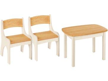 Spar-Set: Levin Kindertisch mit 2 Stühlen, Erle und weiß lasiert
