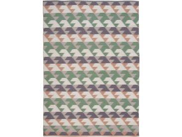 Kelim-Teppich mit geometrischer Musterung grün bonprix