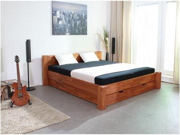 Massivholzbett Valencia, Fußvariante 4 Schubladen ST, Kirschbaum