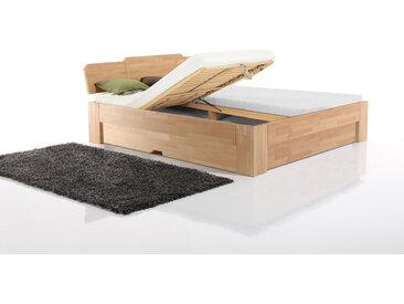 Massivholzbett Mailand, Fußvariante 3, Basic, Stauraumklappe KL