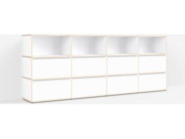 Konfigurierbare Kommode Holz. Aus Multiplexplatte in Weiß.
