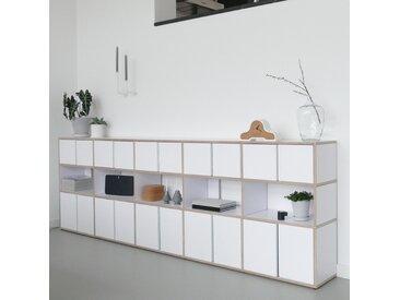 Konfigurierbarer Fernsehtisch aus Massivholz in Weiß.