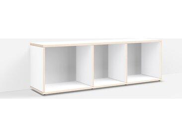Personalisierbares Schallplattenregal aus Massivholz in Weiß.