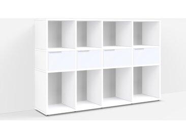 Konfigurierbare Kommode Holz. Aus Spanplatte in Weiß.