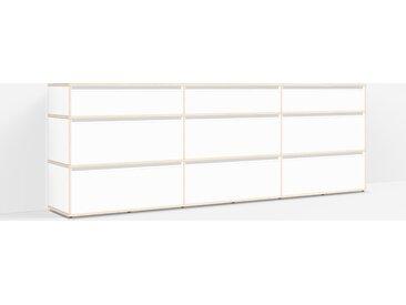 Konfigurierbare Kommode mit Türen. Aus Multiplexplatte in Weiß.