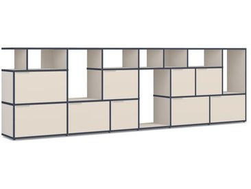 Konfigurierbare TV-Möbel aus Spanplatte in Beige.