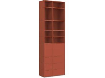 Individualisierbares Bücherregal aus Spanplatte in Rot. Moderne