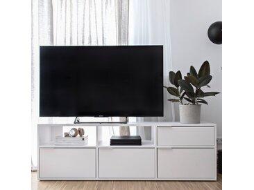 Konfigurierbarer Fernsehtisch aus Spanplatte in Weiß.