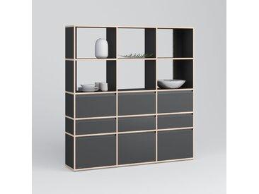 Individualisierbar: Bücherregal aus Multiplexplatte in Schwarz -