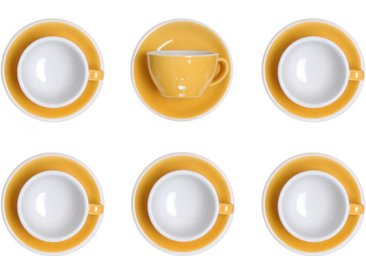 "Set von Cappuccino-Tasse mit Untertasse Loveramics ""Egg Yellow"", 200 ml, 6 Stk."