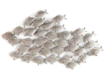 BOLTZE Wanddeko 97 x 53 cm Fischschwarm /Natur, Eisen