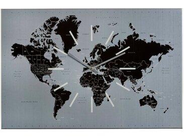 Sompex Wanduhr World 60x40cm /Grau, Metall