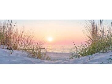 EUROART Glasbild 50 x 125 cm Sunset at the Beach V /Orange, Glas