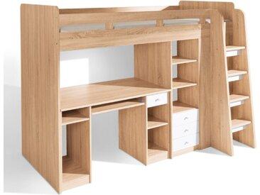 BEGABINO Hochbett Unit 90 x 200 cm /Eiche Weiß, Holzoptik