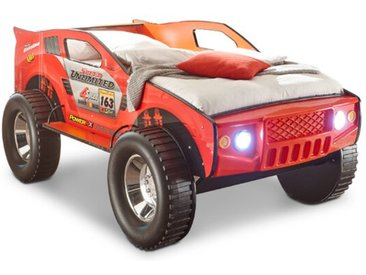 BEGABINO Autobett Jeep 90 x 200 cm /Rot, Holzoptik