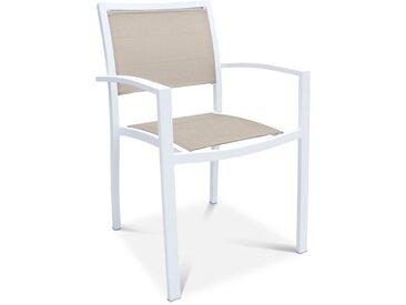 Stapelstuhl Cayo, Alu/Textilene /Weiß, Aluminium